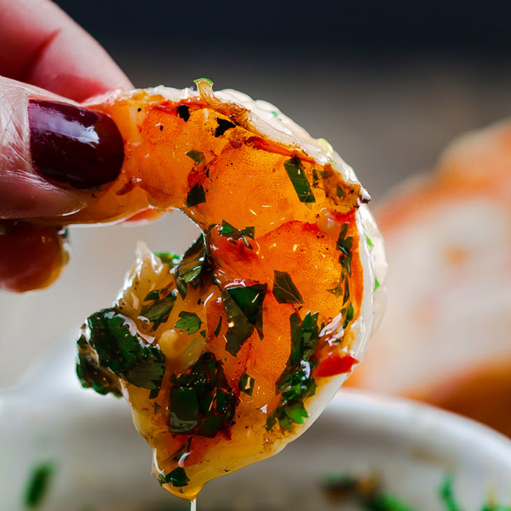 Grilled Shrimp with Roasted Garlic-Cilantro Sauce Recipe