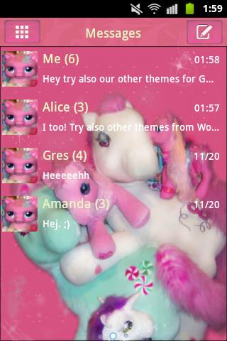 GO SMS PRO Theme Pink Pony- screenshot