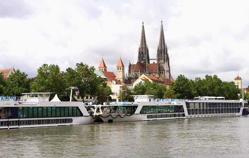 AmaDante-AmaCello-Christening-Cologne - AmaDante, next to sister ship AmaCello, during her christening in Cologne, Germany. Explore the historic city on an exclusive AmaWaterways river cruise.