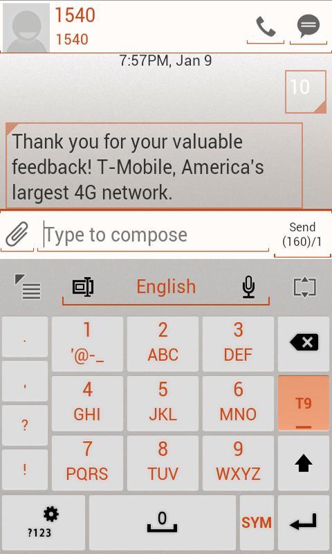 GO Keyboard ICS WHITE Orange- screenshot
