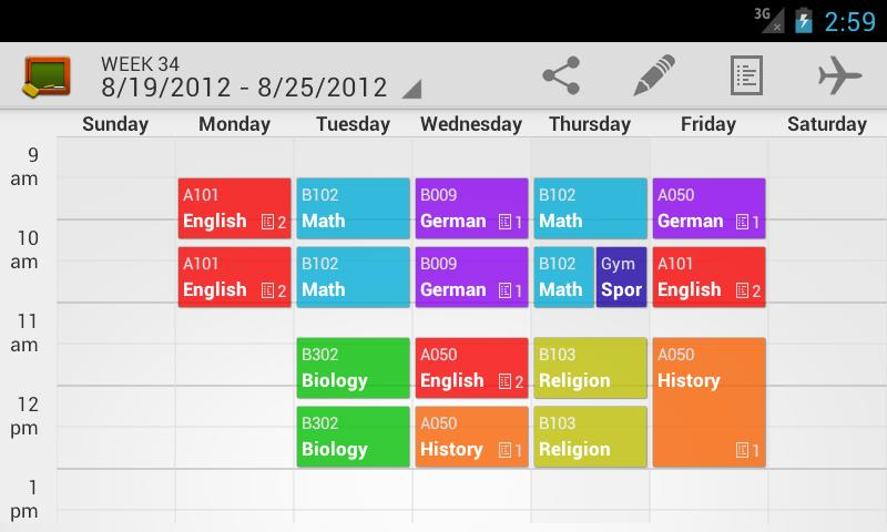 My Class Schedule: Stundenplan – Screenshot