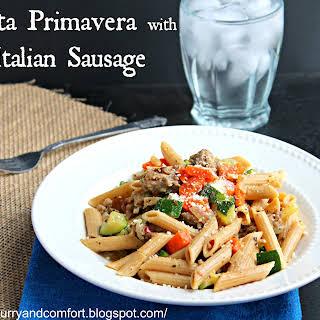 Pasta Primavera with Italian Sausage.