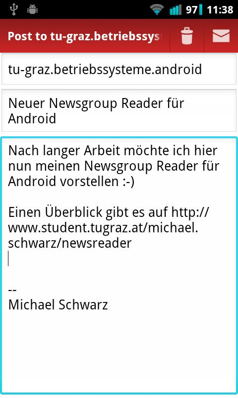 TU Graz Newsreader- screenshot