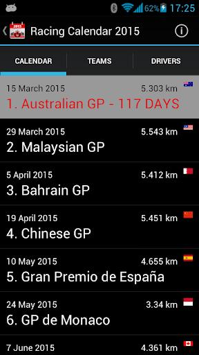 Racing Calendar 2015