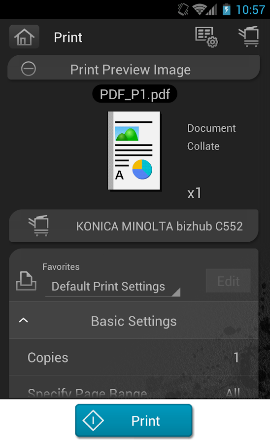 PageScope Mobile for Android - screenshot
