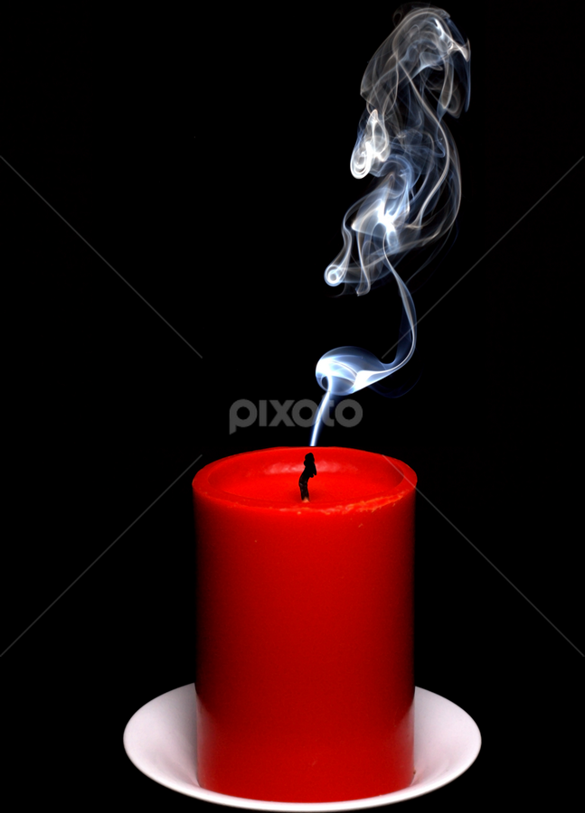 Red candle by Marko Tamela - Artistic Objects Other Objects ( abstract, candle, red, birthdays, black, smoke,  )