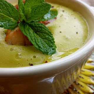 Creamy Pea Soup with Mint.