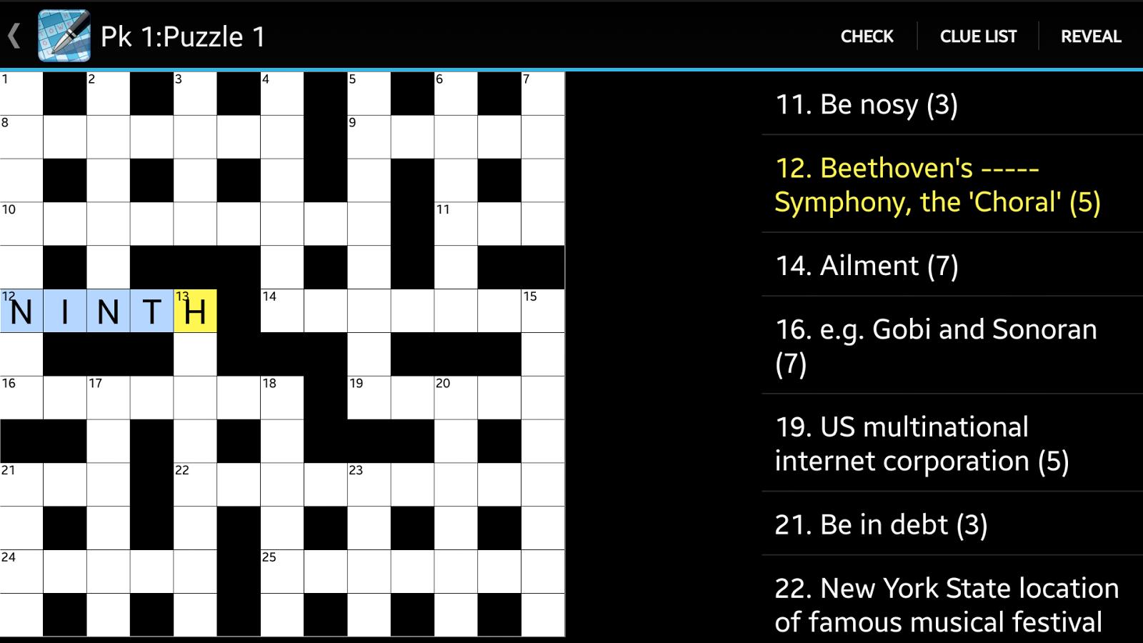 Crossword - screenshot