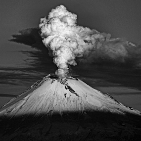 Smoking volcano by Cristobal Garciaferro Rubio - Black & White Landscapes
