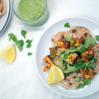 Tandoori Tofu with Spelt Flatbreads and Mint Chutney