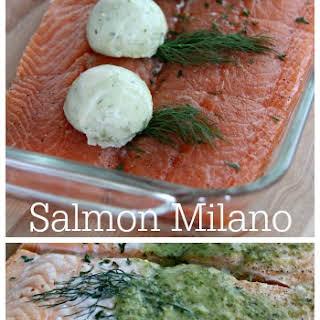 Salmon Milano with Basil Pesto Butter.