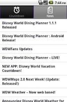 Screenshot of Disney World Countdown