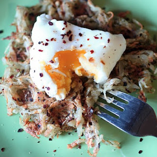 "Poached Egg & Potato ""Waffles""."