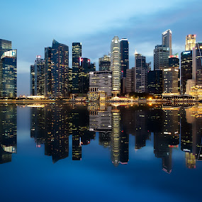 Faux Reflection by Chester Chen - Buildings & Architecture Office Buildings & Hotels ( office, financial, reflection, skyline, maybank, singapore, bluehour, faux, bay, ntuc, buildings, fake, marina, citibank, district )
