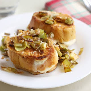 Leek and cheese stuffed savoury French toast.