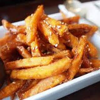 Spiced Korean Yam Fries with Wasabi Garlic Aioli.