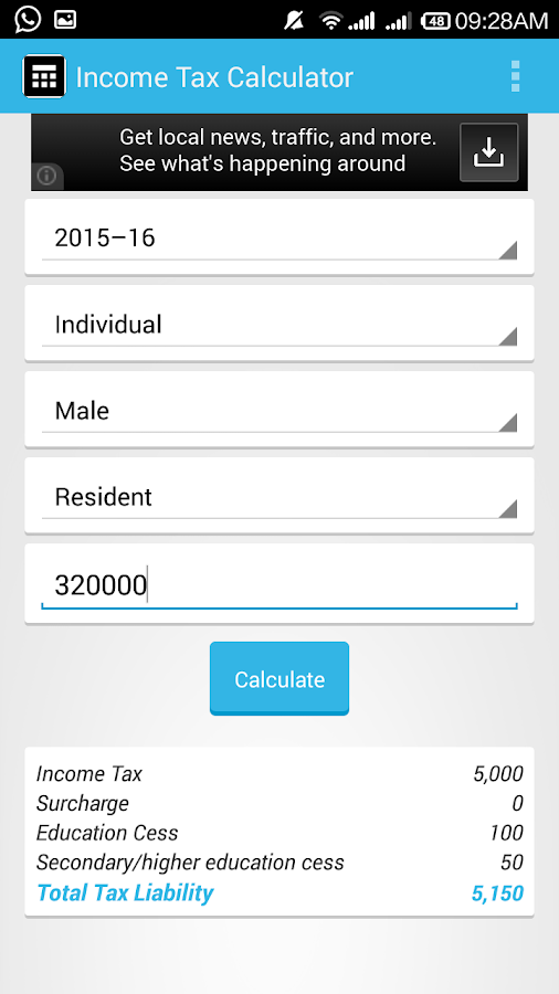 Income Tax Calculator- screenshot
