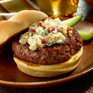 Creamy Blue Cheese 'n Bacon Topped Burgers.