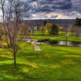 Picatinny Arsensal by Ward Vogt - Landscapes Prairies, Meadows & Fields ( clouds, arsenal, grass, green, photography, new jersey, picatinny, sunset, path, trees, golf, bridge, nj, ward vogt )