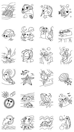 儿童着色书 海洋动物