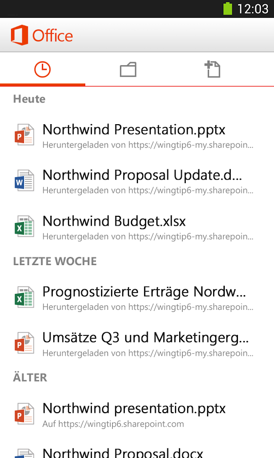 Microsoft Office Mobile – Screenshot