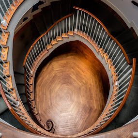 Spiral Square by David Stone - Buildings & Architecture Architectural Detail ( interior, wood, stairway, spiral starecase, spiral, museum, square image,  )