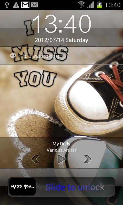 Miss you lock screen - screenshot