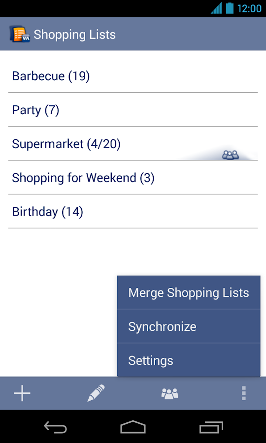 Shopping Lists Manager - screenshot