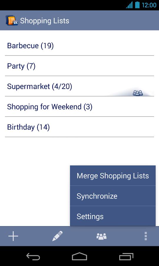 Shopping Lists Manager - screenshot