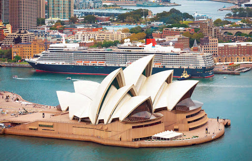 Cunard-Queen-Elizabeth-in-Sydney - Catch riveting views of the Sydney Opera House and coastal Australia while sailing aboard Queen Elizabeth.