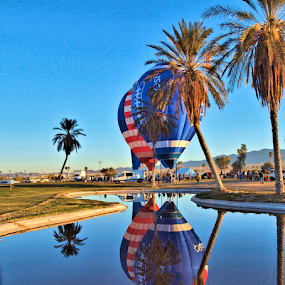 Balloons Up by Becky McGuire - News & Events Entertainment ( reflection, mcguire, desert, 2014, transportation, balloon, reflecting, palm, havasu, aviation, sky, red, tvlgoddess, fly, blue, arizona, mohave, pepsi, reflect, becky,  )