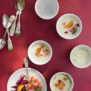 Chilled Cucumber Soup with Roasted Baby Beets