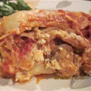 Italian Sausage and Mushroom Lasagna with Bechamel Sauce.