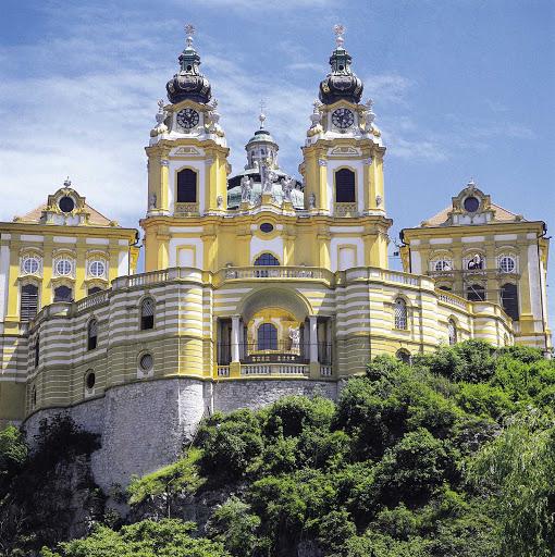 melk-abbey-on-Danube - Melk Abbey on the Danube in Austria.
