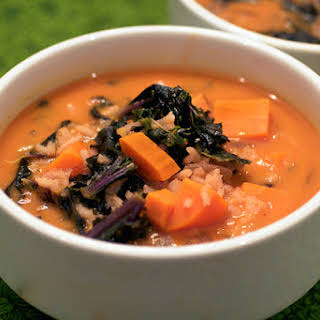 Red Curry Soup with Rice and Purple Kale.