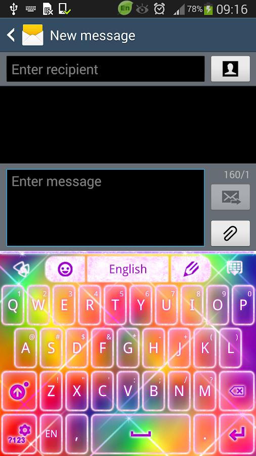Keyboard Color Glitter Theme - screenshot