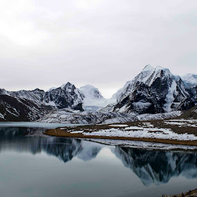 Gurudongmar Lake by Pritam Saha - Landscapes Mountains & Hills ( reflection, bike trip, mountain, sikkim,  )