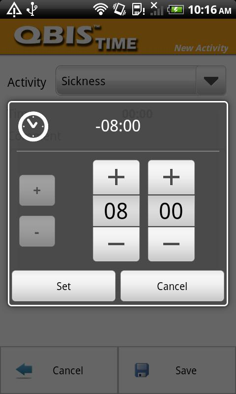 QBIS Time Android- screenshot