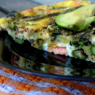 Grilled Salmon and Asparagus Frittata.