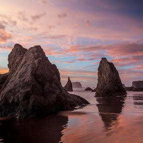 BANDON SUNSET IV by Glenn Miller - Landscapes Waterscapes ( oregon, sunset, oregon coast, ocean, beach )