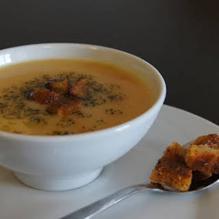 Turkish Red Lentil Soup with Minted Butter and Spiced Croutons.