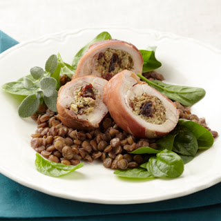 Stuffed Chicken with Merlot-scented Lentils.