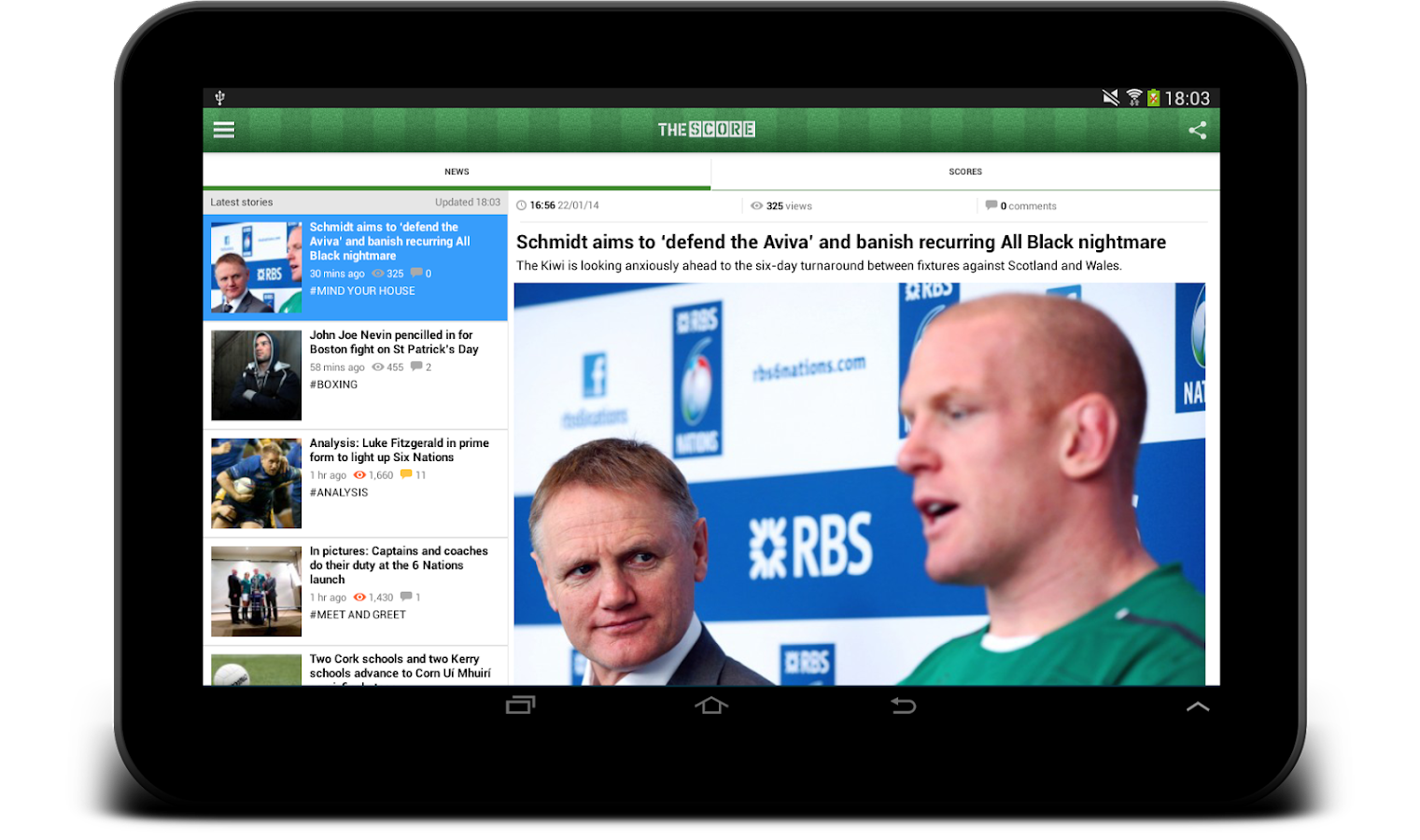 TheScore.ie Sports News - screenshot