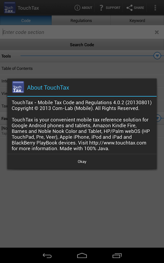 Tax Code and Regs - TouchTax- screenshot