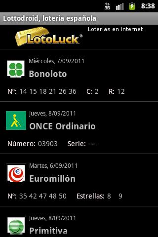 Lottodroid loterias y apuestas - screenshot