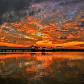 fire in sky by Argirios Kostaras - Landscapes Sunsets & Sunrises (  )