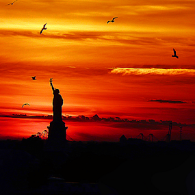 FAREWELL by Kendall Eutemey - Artistic Objects Other Objects ( orange, landmark, statue of liberty, kendall eutemey, sunset, new york city,  )