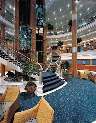At the center of Norwegian Sky is an atrium with a staircase that connects guests from deck 5 up to deck 12.