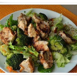 Alfalfa sprouts, Broccoli, and Chicken Salad.