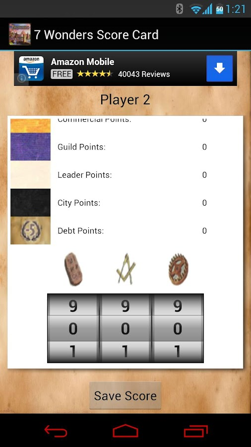 7 Wonders Score Card - screenshot